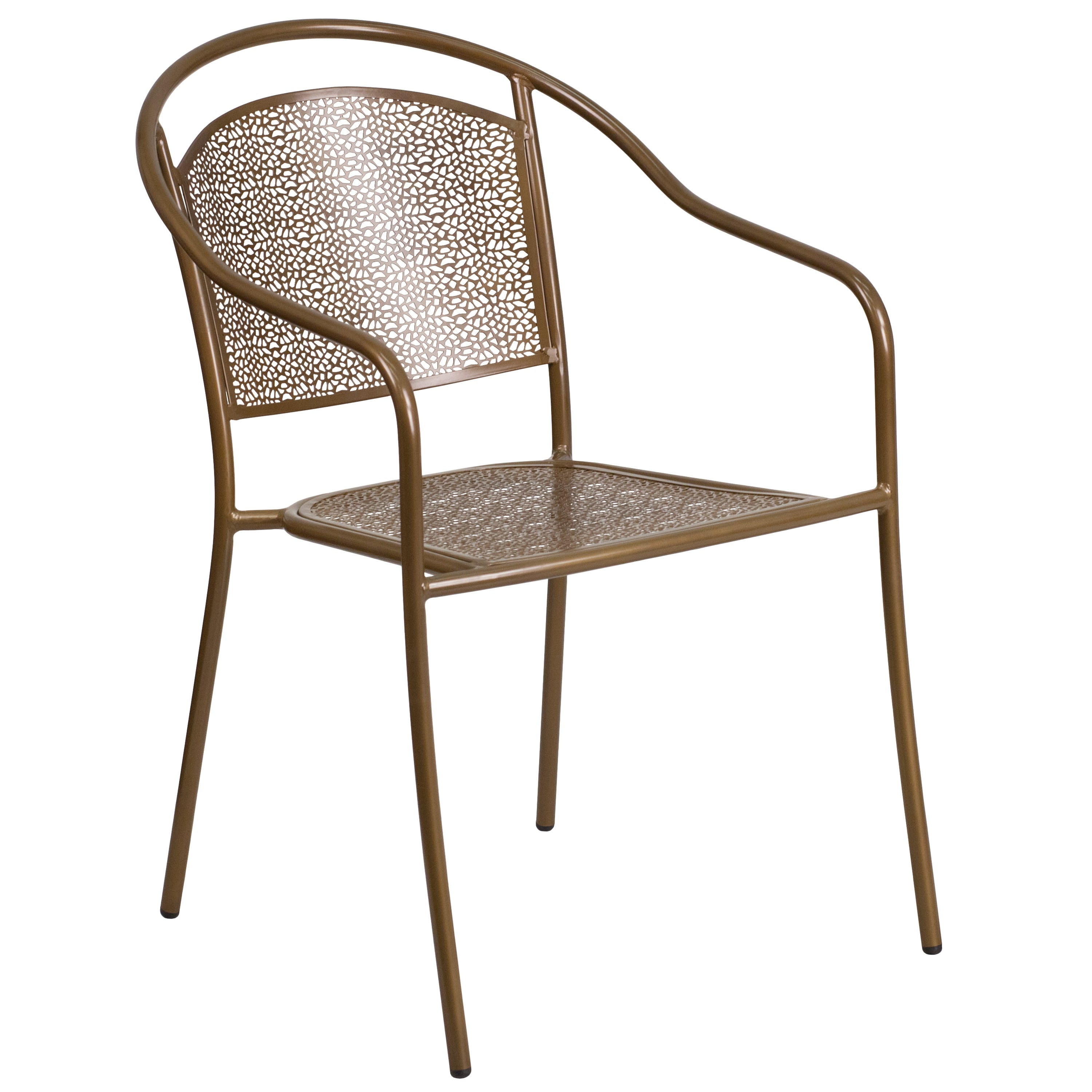 Tiffany Gold Curved Back Stackable Patio Arm Chairs