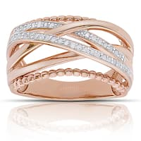 Finesque Rose Gold over Sterling Silver 1/4ct Tw Diamond Multi Band Ring (I-J, I2-I3)