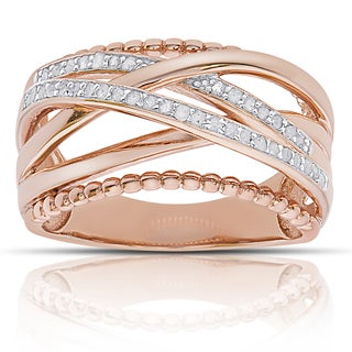 Finesque Rose Gold over Sterling Silver 1/4ct TDW Diamond Multi Band Ring