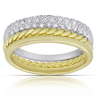 Fiensque Gold over Silver 1/4ct Tw Diamond Stackable Ring (I-J, I2-I3)