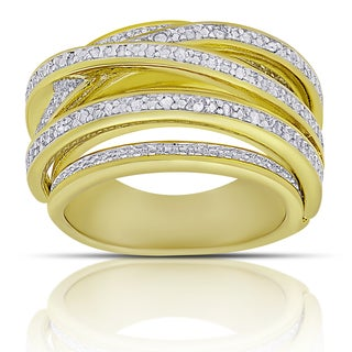 Finesque Gold over Sterling Silver 1/4ct TW Diamond Multi Row Ring (I-J, I2-I3) (2 options available)