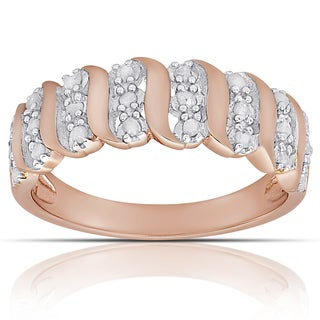 Finesque Rose Gold over Sterling Silver 1/4ct TW Diamond 'S' Design Ring (I-J, I2-I3)( Size 7)