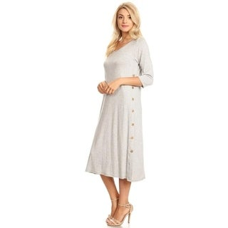 Women's Solid Color Dress with Side Button Trim