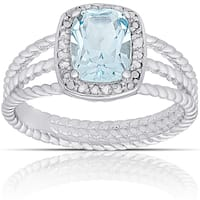 Dolce Giavonna Sterling Silver Blue Topaz and 1/10ct TW Diamond Ring