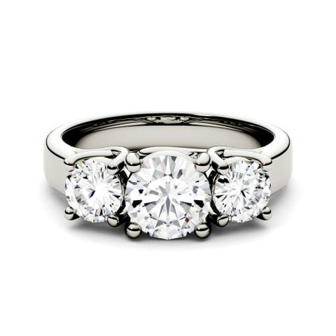 Charles & Colvard 14k White Gold 2ct DEW Forever One Colorless Moissanite Three Stone Ring