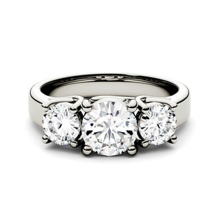 Link to Charles & Colvard 14k White Gold 2ct DEW Forever One Colorless Moissanite Three Stone Ring Similar Items in Rings