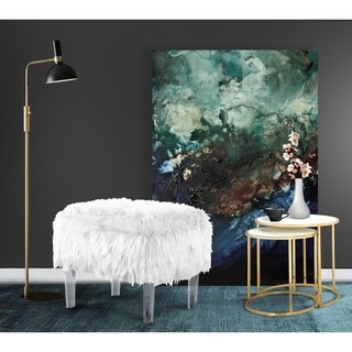 Chic Home Ricco Modern Contemporary Faux Fur Acrylic Leg Ottoman