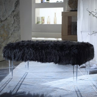 Chic Home  Samuel Modern Contemporary Faux Fur Acrylic Leg Bench (Black)