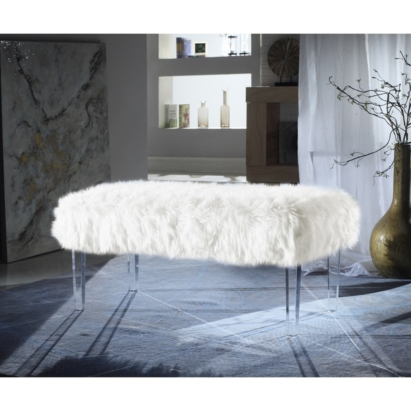 Shop Chic Home Samuel Modern Contemporary Faux Fur Acrylic Leg Bench On Sale Free Shipping