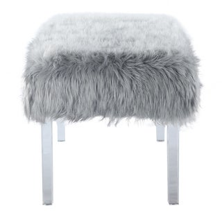 Chic Home  Samuel Modern Contemporary Faux Fur Acrylic Leg Bench (Grey)