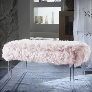 Chic Home  Samuel Modern Contemporary Faux Fur Acrylic Leg Bench (Pink)