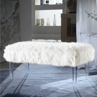 Chic Home  Samuel Modern Contemporary Faux Fur Acrylic Leg Bench (White)