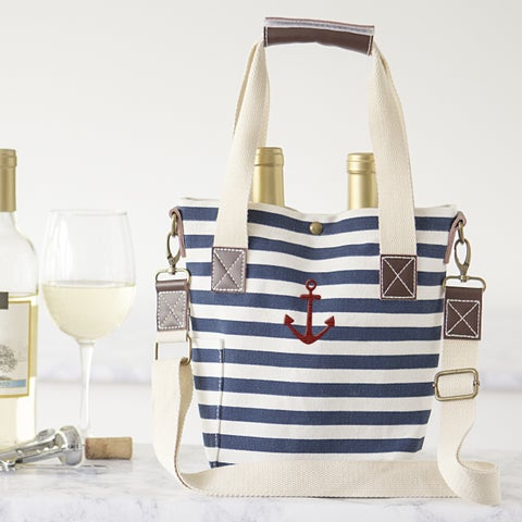 Striped Canvas Anchor Wine Tote