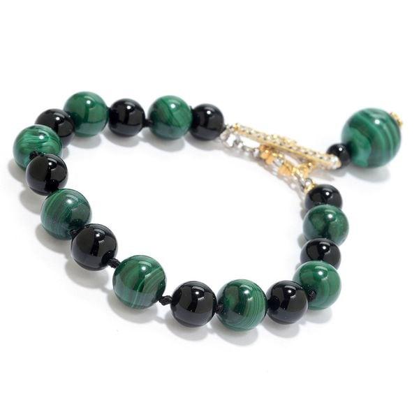 Michael Valitutti Palladium Silver Malachite & Black Onyx Beaded Toggle Bracelet w/ Charm Drop