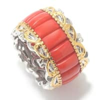 Michael Valitutti Palladium Silver Red Bamboo Coral Wide Eternity Band Ring
