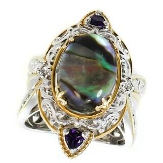 Michael Valitutti Palladium Silver Abalone, Chrome Diopside & White Sapphire Ring