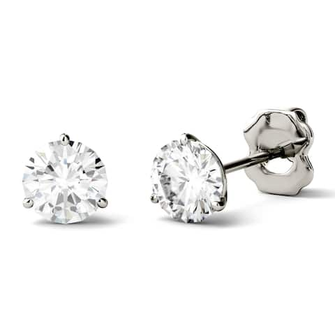 Charles & Colvard 14k White Gold 2ct DEW Round Forever One Colorless Moissanite Martini Stud Earrings