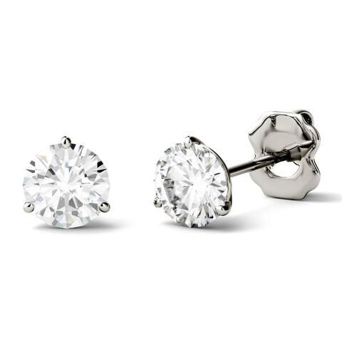 5d52846b5 Charles & Colvard 14k White Gold 2ct DEW Round Forever One Colorless  Moissanite Martini Stud Earrings