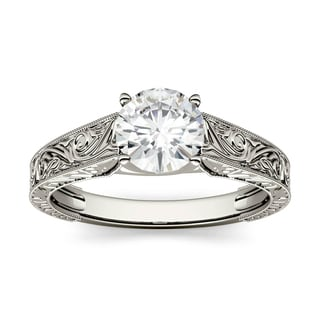 Charles & Colvard 14k White Gold 1ct DEW Round Forever One Colorless Moissanite Solitaire Engagement Ring