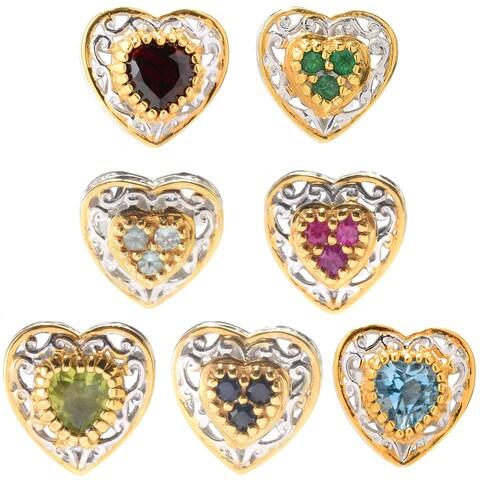 Michael Valitutti Palladium Silver Birthstone Heart Shaped Stud Earrings