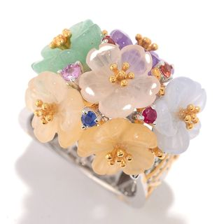 "Michael Valitutti Palladium Silver Paris ""Flower Garden de Versailles"" Multi Gemstone Cocktail Ring"