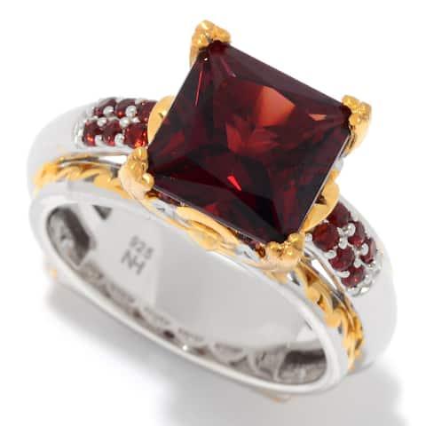 Michael Valitutti Palladium Silver Princess Cut Garnet High-Set Ring