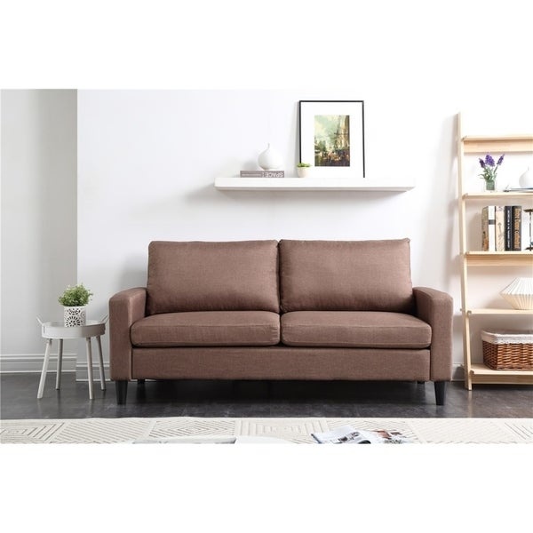 Porch & Den Killingly 74-inch Track Arm Sofa with Brown Linen Textured Fabric