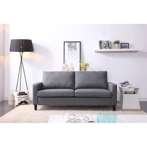 """Shop 74"""" Track Arm Sofa With Linen Textured Fabric"""
