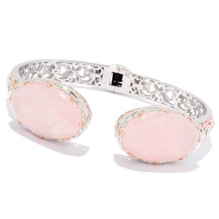 Michael Valitutti Palladium Silver Rose Quartz Kissing Cuff Bracelet