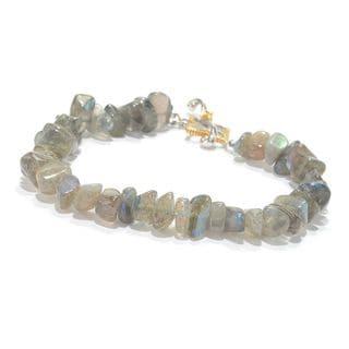 Michael Valitutti Palladium Silver Freeform Labradorite Beaded Toggle Bracelet