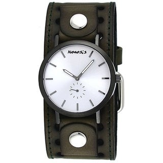 Nemesis KTH222S Men's Brown Plated Silver Minimalist Dial Wide Leather Band Watch