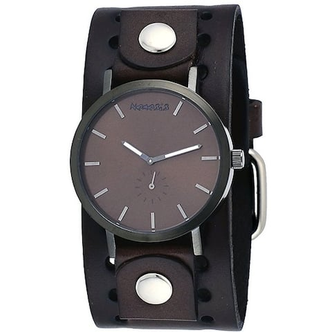 a161886ff3bf Nemesis Men s Brown Plated Brown Minimalist Dial Wide Leather Band Watch