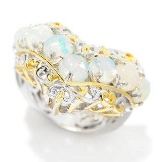 Michael Valitutti Palladium Silver Ethiopian Opal Seven-Stone Chevron Band Ring