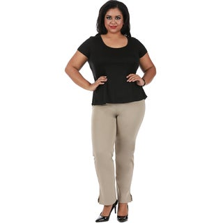 LaMonir Curvy Straight Leg Pant with Slit