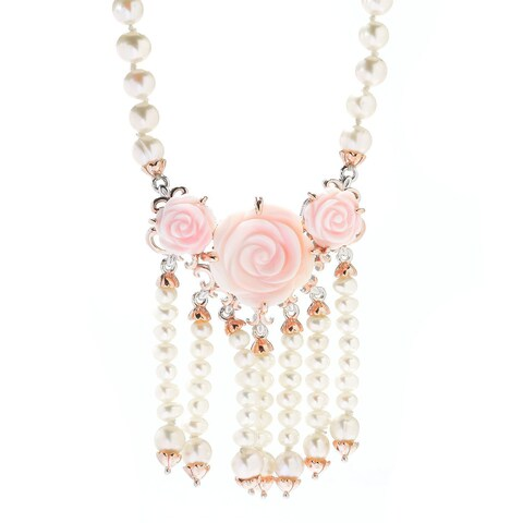 Michael Valitutti Palladium Silver Asia Freshwater Cultured Pearl & Carved Shell Flower Necklace