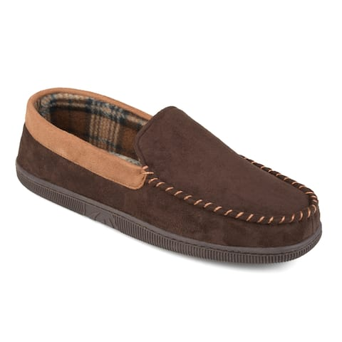 Vance Co. Men's 'Slater' Faux Suede Micro Fleece Lined Moccasin Slippers