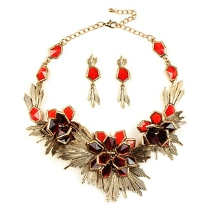 Eye Candy LA 14 inch Flower Red Burst Earring and Necklace Set