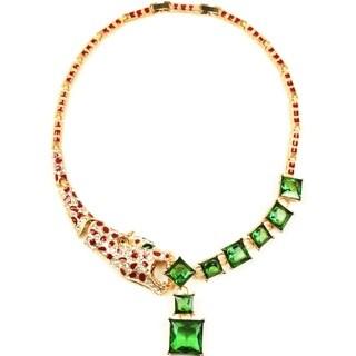 Eye Candy LA 12 inch Cheetah Emerald Green Toned Neckace
