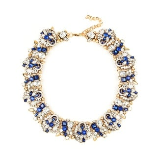 Eye Candy LA 10 inch Shimmering Blue Stone Wreath Necklace