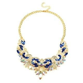 Eye Candy LA 14 inch Glittering Gold Base Royal Blue Necklace