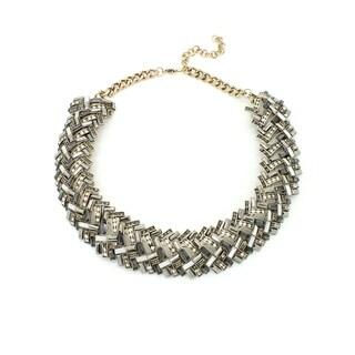 Eye Candy LA 10 inch Neutral Tone Enamel Stone Necklace