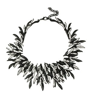 Eye Candy LA 14 inch Black Seaweed Resin Rhinestone Necklace