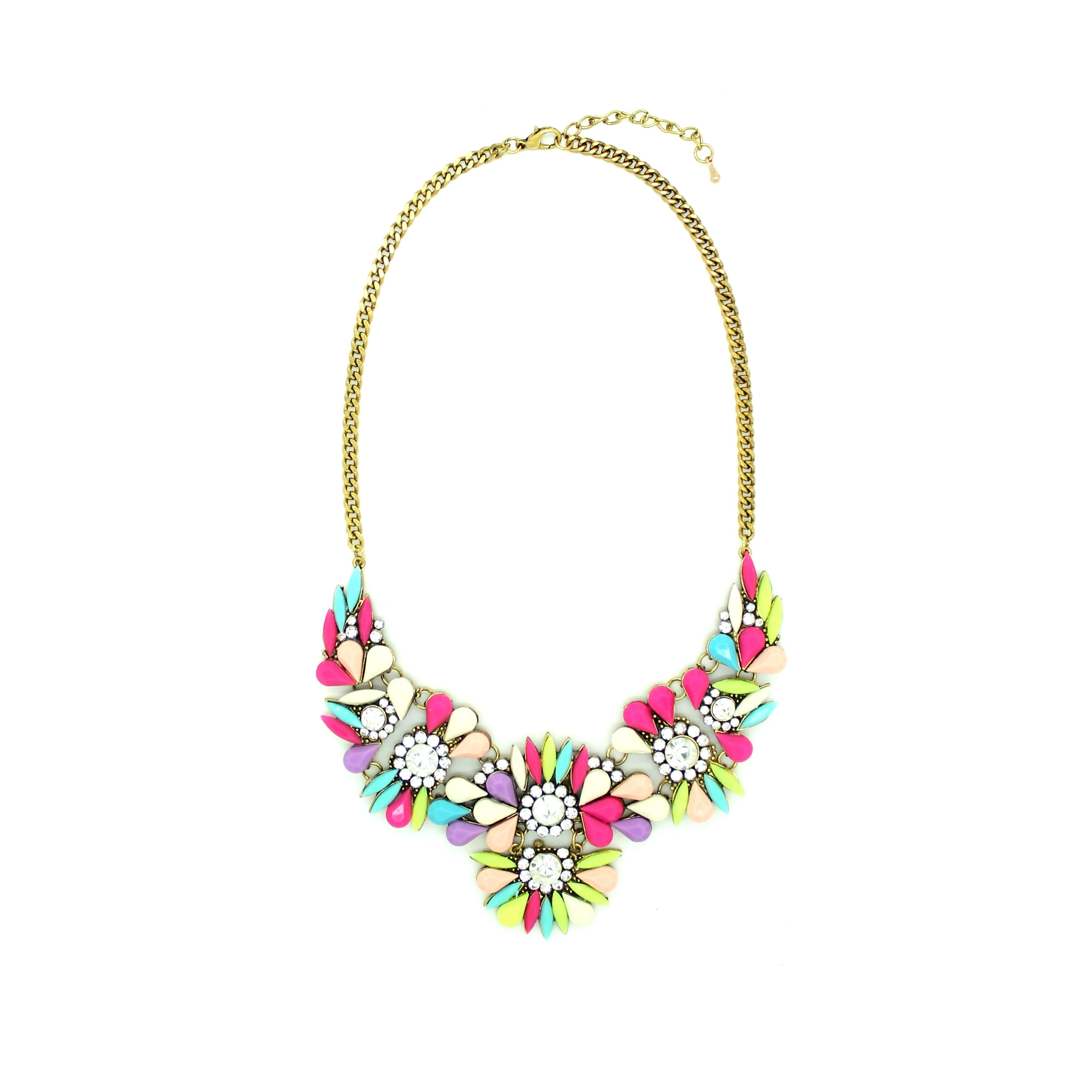 Eye Candy LA 10 inch Party Pink Statement Stone Necklace,...