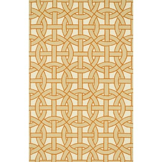 Indoor/ Outdoor Hand-hooked Geometric Beige/ Orange Rug - 5' x 7'6""