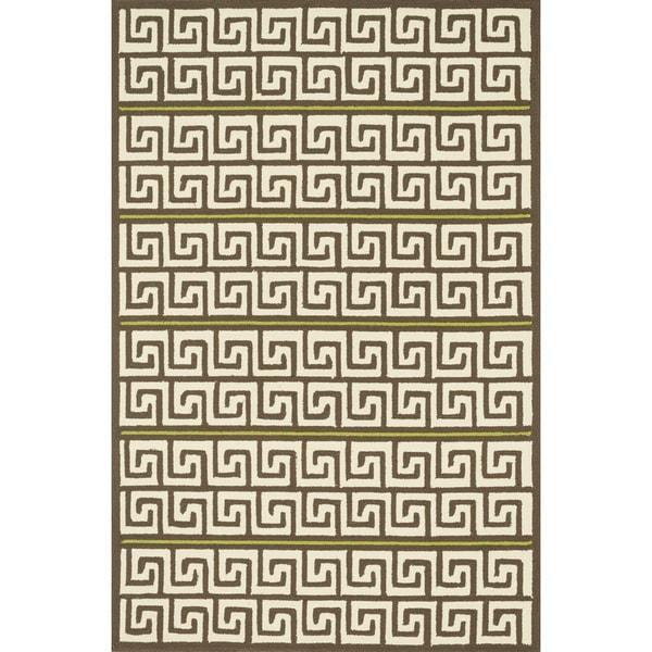 """Indoor/ Outdoor Hand-hooked Geometric Brown/ Green Rug - 7'6"""" x 9'6"""""""