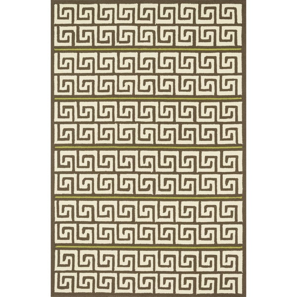 Indoor/ Outdoor Hand-hooked Geometric Brown/ Green Rug (5' x 7'6) - 5' x 7'6""