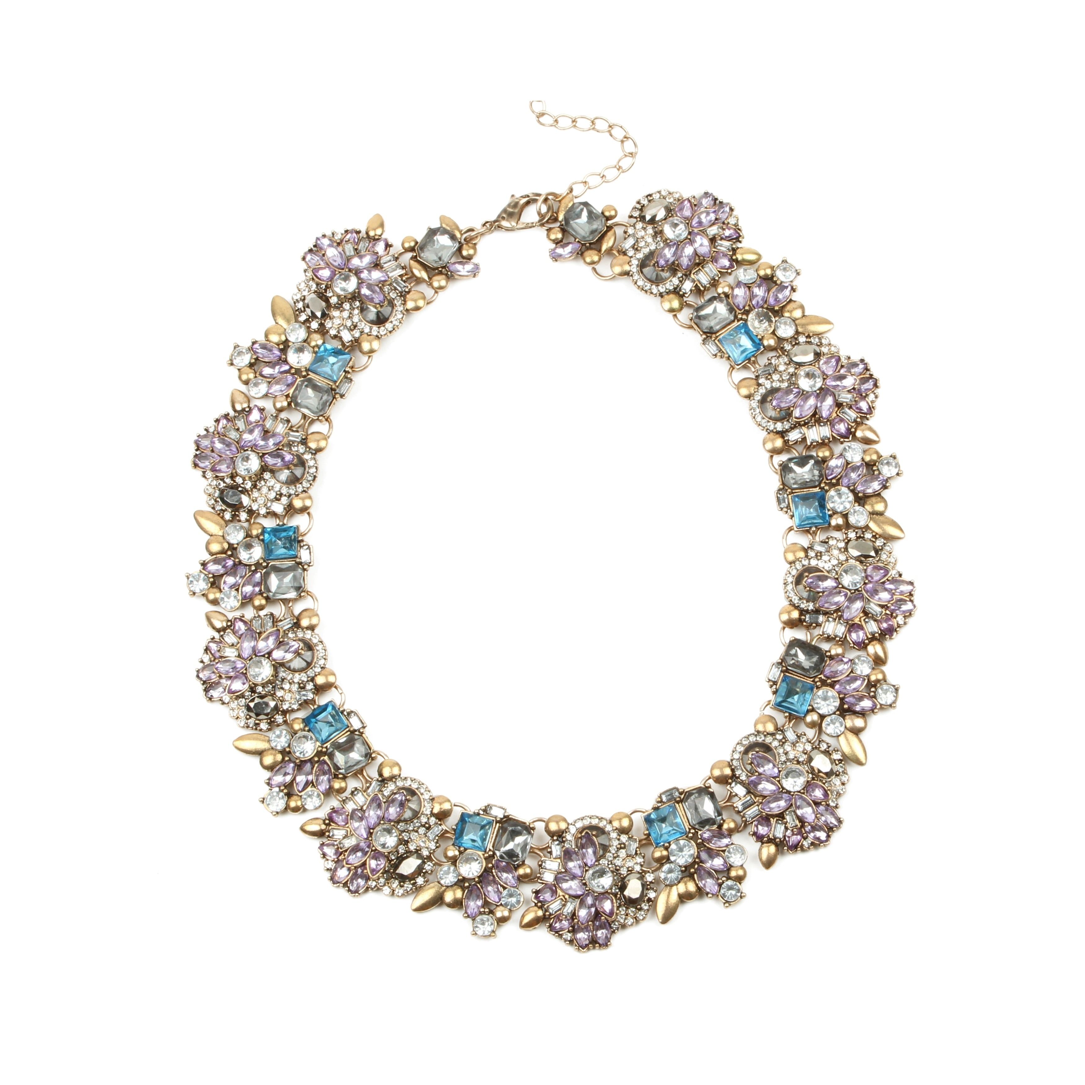 Eye Candy LA 10 inch Lavender Glam Stone Wreath Necklace,...