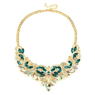 Eye Candy LA 14 inch Glittering Gold Base Forest Green Necklace
