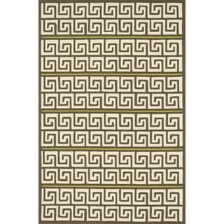 Indoor/ Outdoor Hand-hooked Geometric Brown/ Green Rug (3'6 x 5'6)