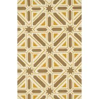Indoor/ Outdoor Hand-hooked Geometric Taupe/ Gold Rug - 5' x 7'6